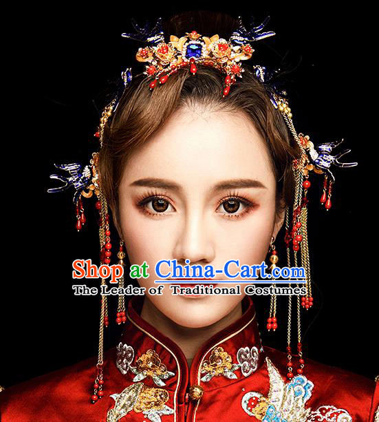 Chinese Traditional Wedding Hair Accessories Ancient Bride Tassel Hairpins Xiuhe Suit Phoenix Coronet Headwear for Women