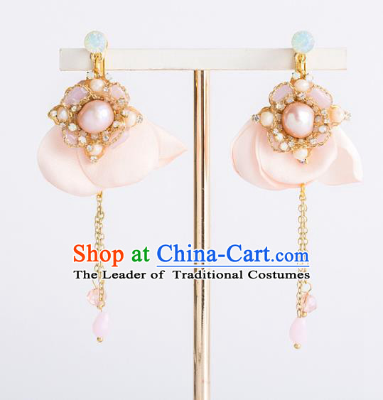 Bride Classical Accessories Pearls Earrings Wedding Pink Eardrop for Women