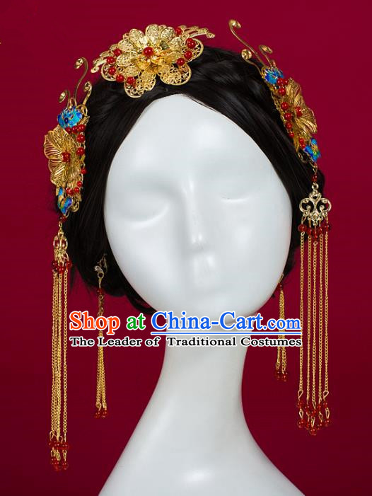 Chinese Traditional Wedding Hair Accessories Ancient Bride Hairdo Crown Hairpins Headwear for Women