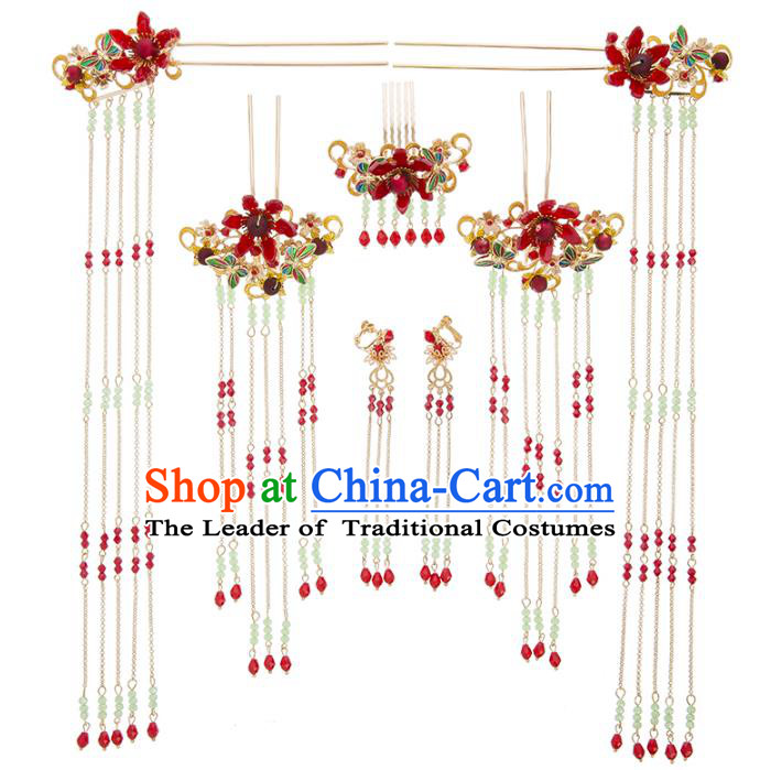 Chinese Traditional Wedding Hair Accessories Ancient Bride Step Shake Phoenix Coronet Hairpins Headwear for Women