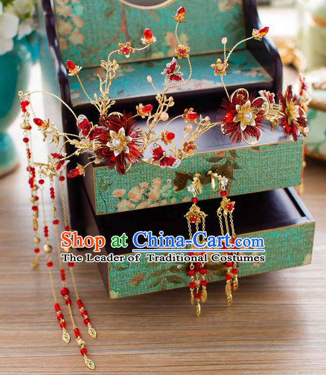 Chinese Traditional Wedding Hair Accessories Hair Clasp Ancient Xiuhe Suit Bride Hairpins Complete Set for Women