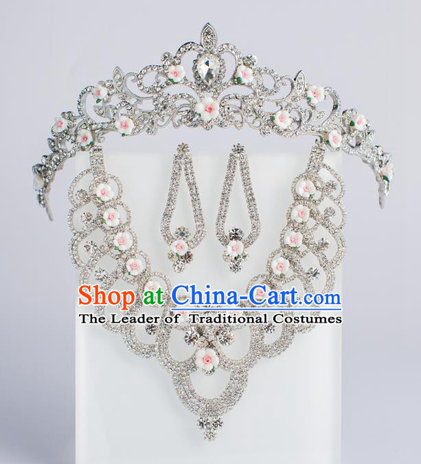 Baroque Bride Hair Accessories Royal Crown Classical Wedding Princess Imperial Crown and Necklace Earrings for Women