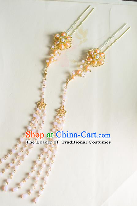 Chinese Traditional Palace Hair Accessories Tassel Step Shake Ancient Xiuhe Suit Pearls Hairpins for Women