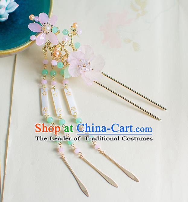 Chinese Traditional Palace Hair Accessories Jade Tassel Step Shake Ancient Xiuhe Suit Hairpins for Women