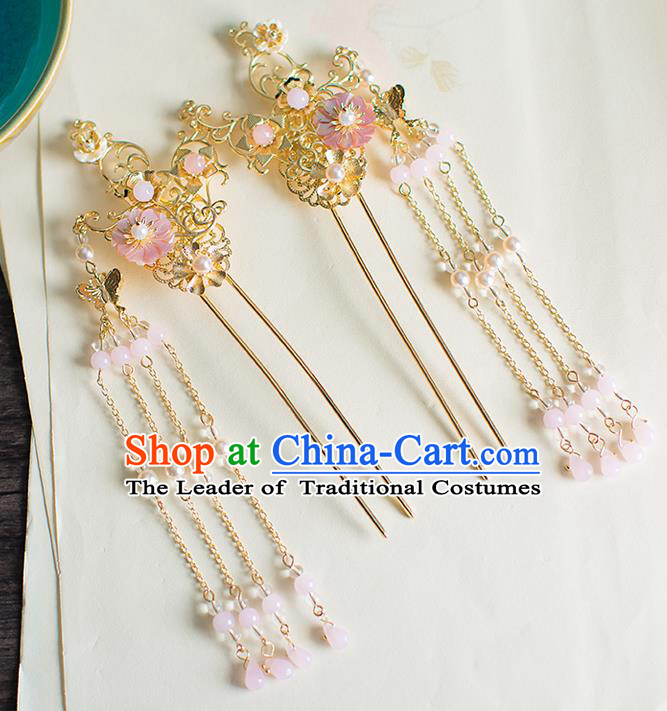 Chinese Traditional Palace Hair Accessories Golden Tassel Hair Clips Ancient Xiuhe Suit Hairpins for Women