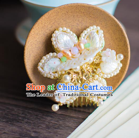 Chinese Traditional Palace Hair Accessories Jade Butterfly Hair Comb Ancient Xiuhe Suit Pearls Hairpins for Women