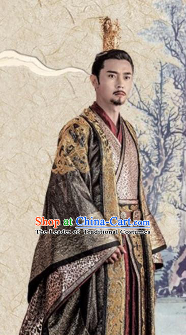 Chinese Ancient Emperor Yang of Sui Dynasty Yang Jian Historical Costume Embroidered Imperial Robe for Men