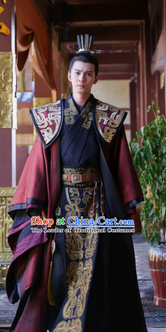 Chinese Ancient Northern Zhou Dynasty Nobility Childe Prime Minister Yuwen Hu Historical Costume for Men