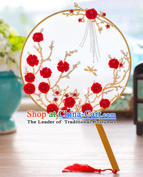 Chinese Classical Bride Accessories Wedding Fans Palace Round Fans for Women