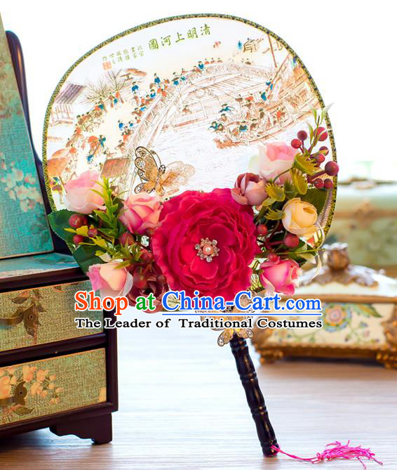 Chinese Classical Bride Accessories Wedding Fans Palace Peony Round Fans for Women