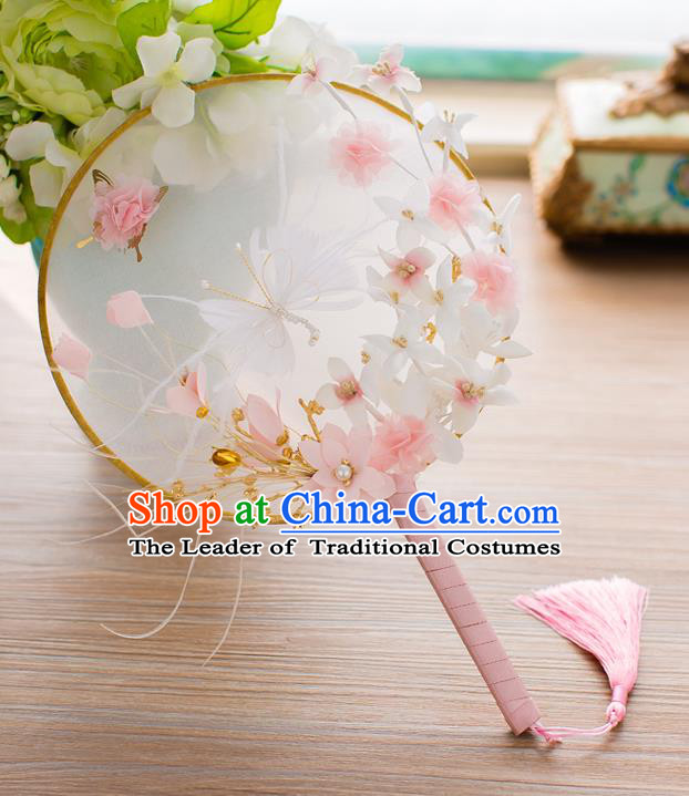 Chinese Classical Bride Accessories Wedding Fans Palace Butterfly Round Fans for Women