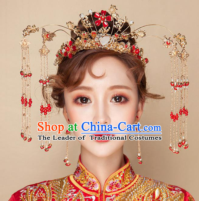 Chinese Traditional Palace Hair Accessories Xiuhe Suit Tassel Phoenix Coronet Ancient Hairpins Complete Set for Women