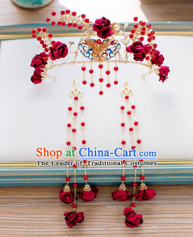 Chinese Traditional Palace Hair Accessories Ancient Xiuhe Suit Tassel Phoenix Coronet Hairpins Complete Set for Women