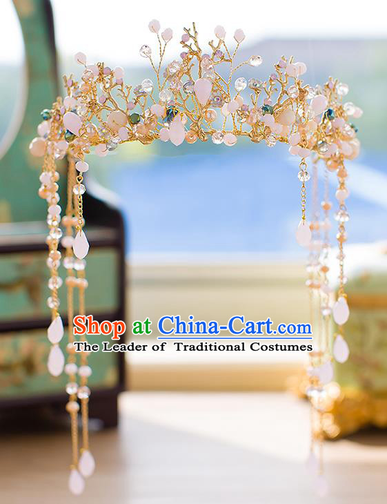 Chinese Traditional Palace Hair Accessories Ancient Xiuhe Suit Hairpins Hair Crown for Women