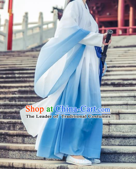 Chinese Traditional Embroidered Hanfu Dress Ancient Swordswoman Costume for Women