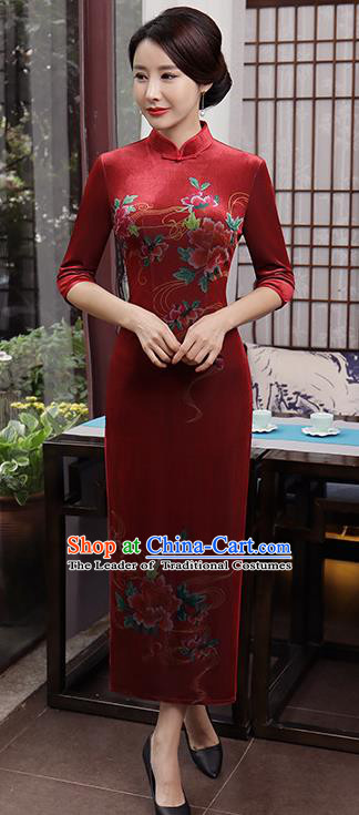 Top Grade Chinese Purplish Red Qipao Dress National Costume Traditional Mandarin Cheongsam for Women