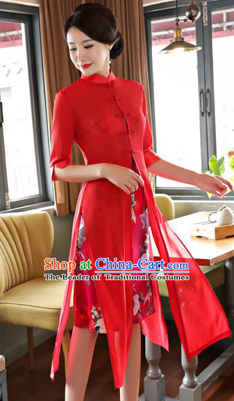 Top Grade Chinese Printing Red Two-pieces Qipao Dress National Costume Traditional Mandarin Cheongsam for Women