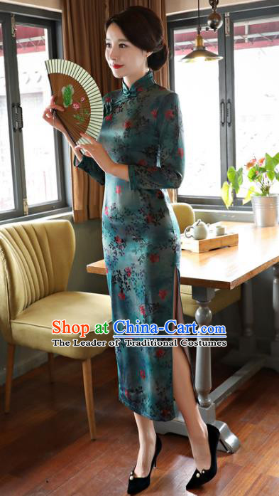 Top Grade Chinese Elegance Green Watered Gauze Qipao Dress National Costume Traditional Mandarin Cheongsam for Women