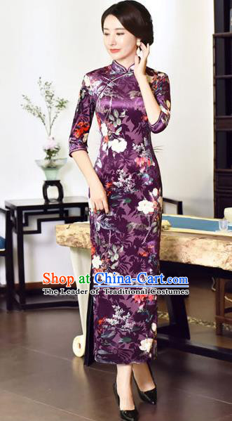 Top Grade Chinese National Costume Purple Velvet Qipao Dress Traditional Tang Suit Cheongsam for Women