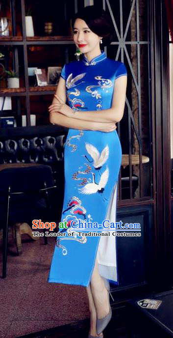 Top Grade Chinese National Costume Printing Crane Blue Silk Qipao Dress Traditional Tang Suit Cheongsam for Women