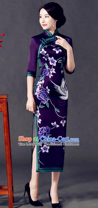 Top Grade Chinese National Costume Printing Crane Purple Silk Qipao Dress Traditional Lace Cheongsam for Women