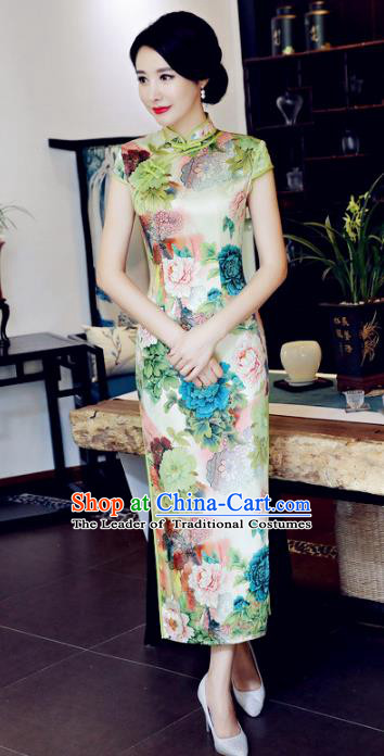 Top Grade Chinese National Costume Printing Peony Silk Qipao Dress Traditional Lace Cheongsam for Women