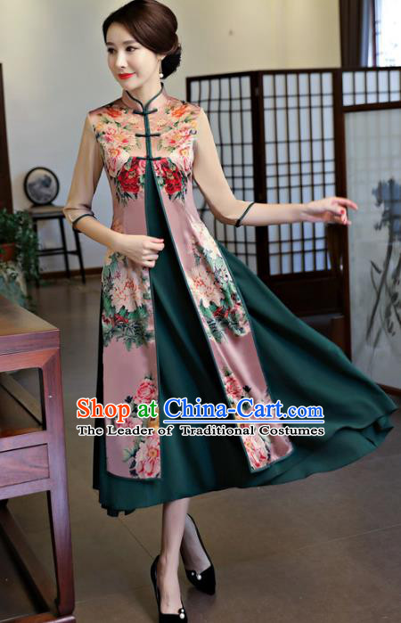 Chinese National Costume Handmade Printing Peony Two-pieces Qipao Dress Traditional Cheongsam for Women