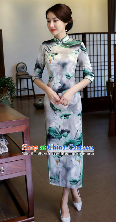 Chinese National Costume Handmade Printing Lotus Silk Qipao Dress Traditional Cheongsam for Women