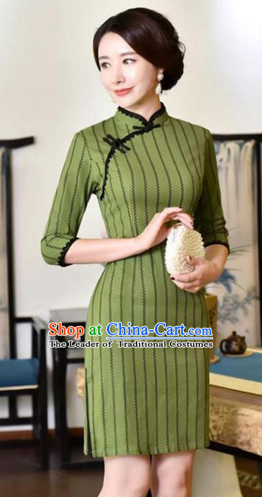 Top Grade Chinese Green Linen Qipao Dress National Costume Traditional Mandarin Cheongsam for Women