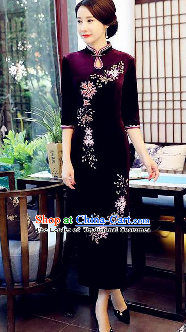 Top Grade Chinese Beading Embroidery Purple Qipao Dress National Costume Traditional Mandarin Cheongsam for Women