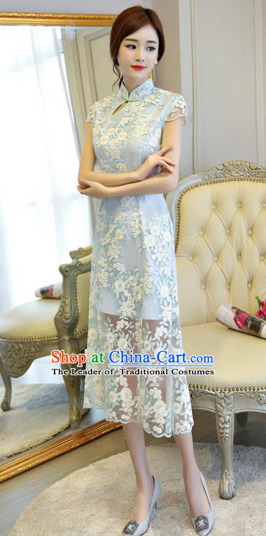 Chinese National Costume Handmade Qipao Dress Traditional Tang Suit Blue Embroidered Cheongsam for Women