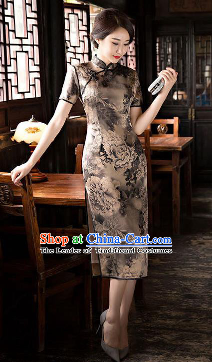 Chinese National Costume Handmade Tang Suit Qipao Dress Traditional Ink Painting Silk Cheongsam for Women