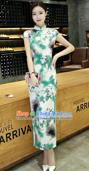 Chinese National Costume Handmade Silk Tang Suit Qipao Dress Traditional Ink Painting Green Cheongsam for Women