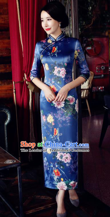 Chinese National Costume Handmade Qipao Dress Traditional Tang Suit Printing Blue Watered Gauze Cheongsam for Women