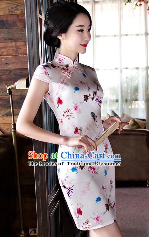 Chinese National Costume Tang Suit White Silk Qipao Dress Traditional Printing Cheongsam for Women