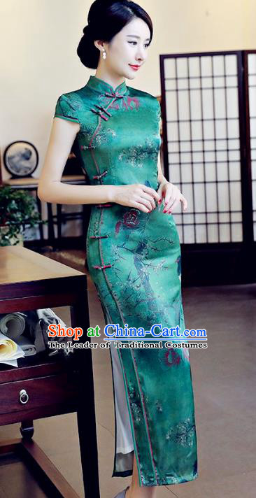 Chinese National Costume Tang Suit Green Silk Qipao Dress Traditional Printing Cheongsam for Women