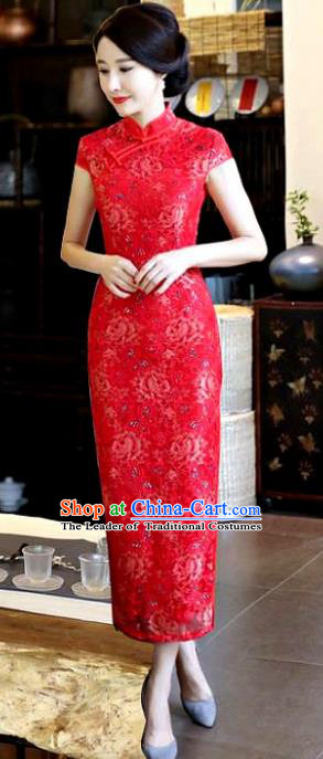 Chinese National Costume Tang Suit Red Silk Qipao Dress Traditional Printing Rose Cheongsam for Women