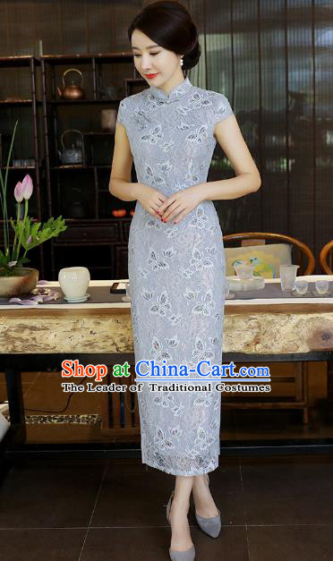 Chinese National Costume Tang Suit Grey Silk Qipao Dress Traditional Printing Rose Cheongsam for Women