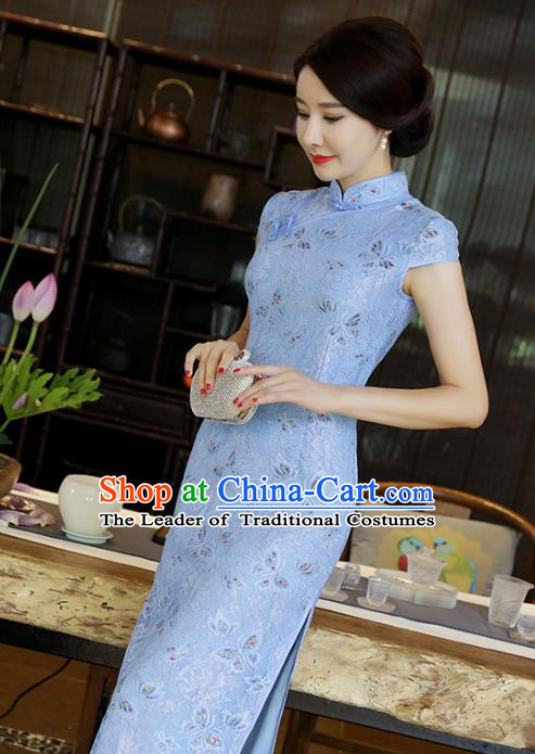 Chinese National Costume Tang Suit Blue Silk Qipao Dress Traditional Printing Rose Cheongsam for Women