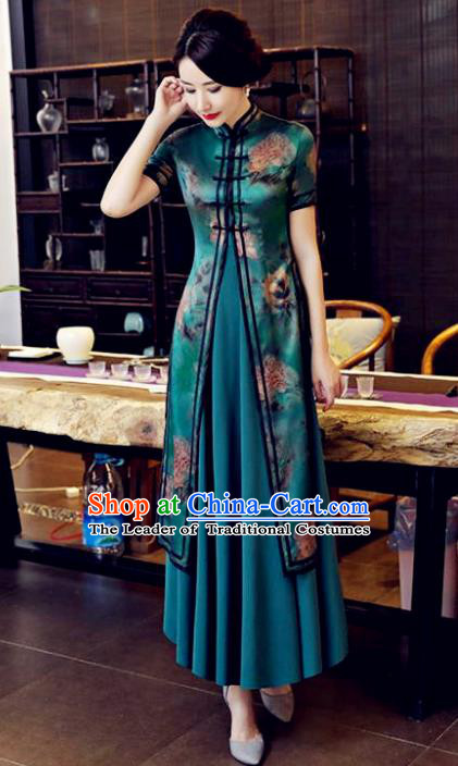 Chinese National Costume Tang Suit Silk Qipao Dress Traditional Printing Two-pieces Blue Cheongsam for Women