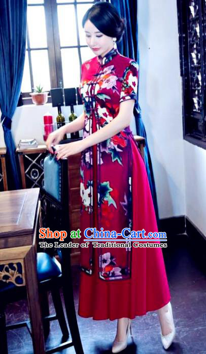 Chinese National Costume Tang Suit Silk Qipao Dress Traditional Printing Two-pieces Red Cheongsam for Women