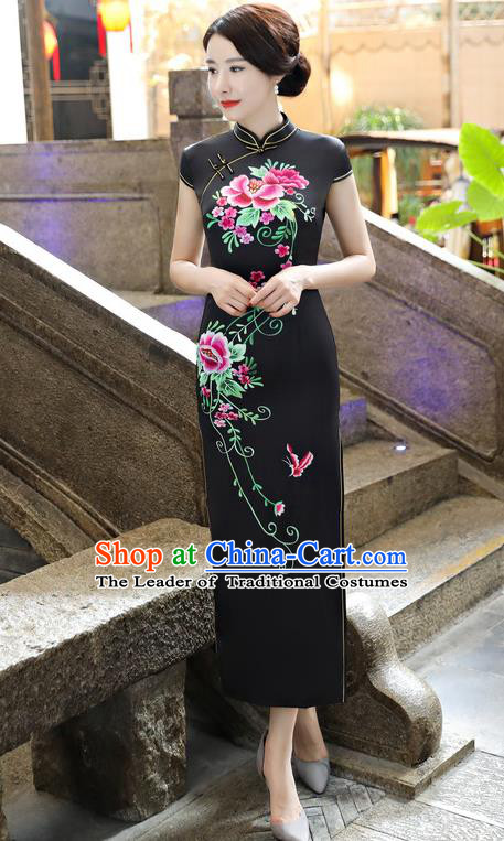 Chinese National Costume Tang Suit Silk Qipao Dress Traditional Printing Peony Black Cheongsam for Women