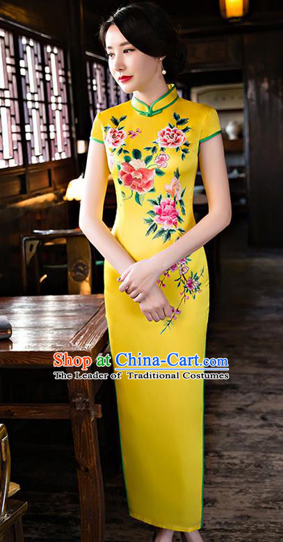 Chinese National Costume Handmade Tang Suit Qipao Dress Traditional Printing Peony Yellow Silk Cheongsam for Women