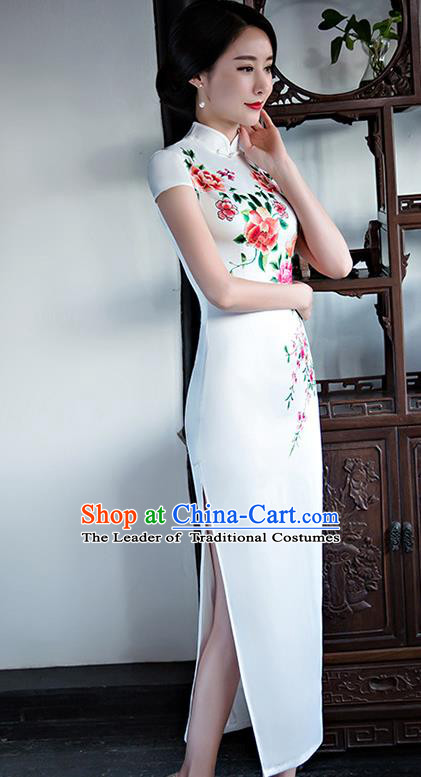 Chinese National Costume Handmade Tang Suit Qipao Dress Traditional Printing Peony White Silk Cheongsam for Women