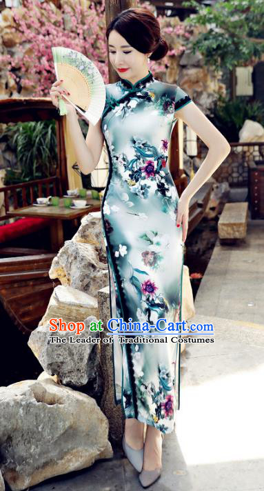 Chinese National Costume Handmade Tang Suit Qipao Dress Traditional Printing Green Silk Cheongsam for Women