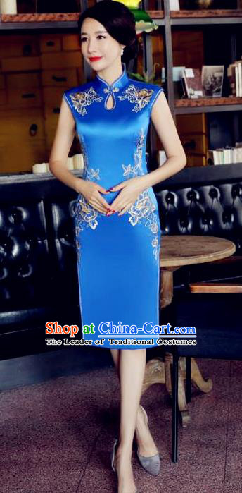 Chinese National Costume Tang Suit Blue Silk Qipao Dress Traditional Embroidered Chrysanthemum Cheongsam for Women