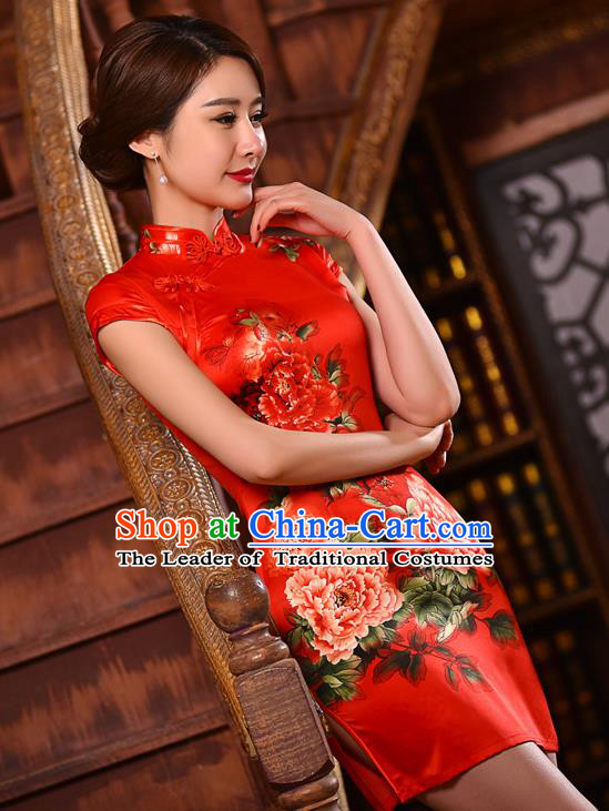 Chinese National Costume Tang Suit Printing Peony Red Silk Qipao Dress Traditional Wedding Cheongsam for Women