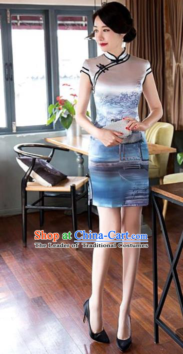 Chinese National Costume Tang Suit Printing Silk Qipao Dress Traditional Short Cheongsam for Women