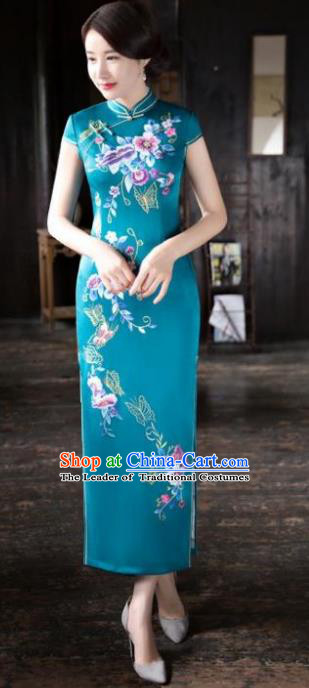 Chinese National Costume Tang Suit Printing Green Silk Qipao Dress Traditional Republic of China Cheongsam for Women