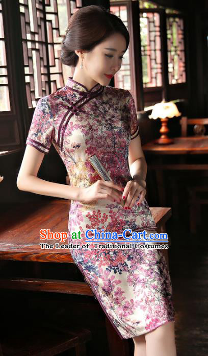 Chinese National Costume Tang Suit Qipao Dress Traditional Republic of China Lilac Cheongsam for Women